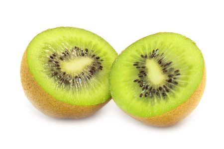 hairy pear: sliced open kiwi macro shot on a white background with pretty shadow