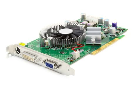 wire pin: shot of the mid-range video card with AGP interface on a white background with pretty shadow Stock Photo