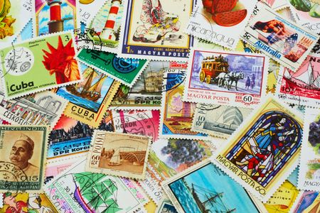 shot of the random collection of postal stamps (1920-2000s)