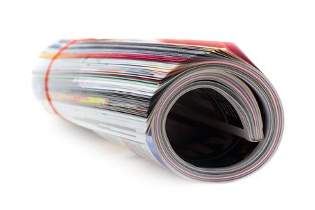 perks: shot of the magazine roll (Shallow DOF) on a white background with pretty shadow Stock Photo