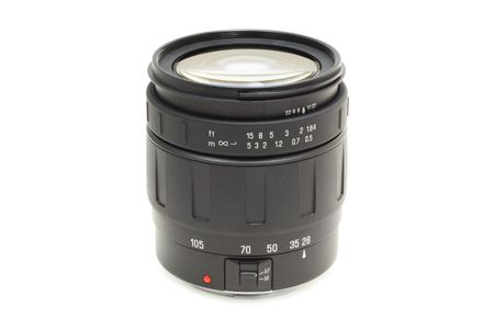 auto focus: high-quality auto focus optic lens for DSLR on a white background with pretty shadow Stock Photo