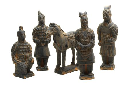 miniature terracotta warriors of oin dynasty on a white background with pretty shadows