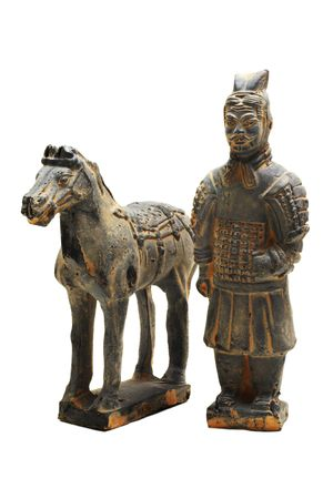miniature terracotta warrior of oin dynasty with horse on a white background with pretty shadows