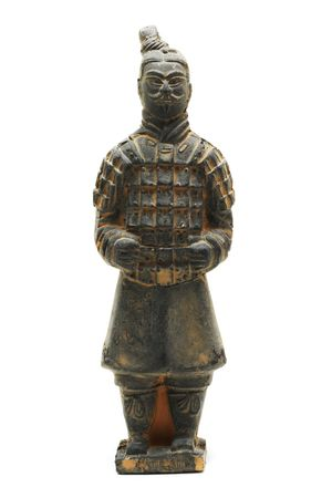 miniature terracotta warrior of oin dynasty on a white background with pretty shadow