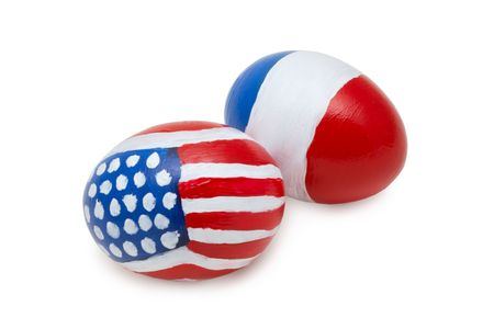 easter eggs with abstract american and french flag on it photo