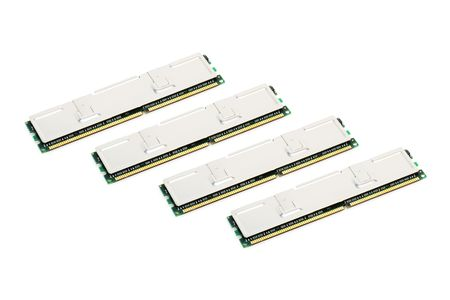 modules: four modules of computer memory on a white background Stock Photo