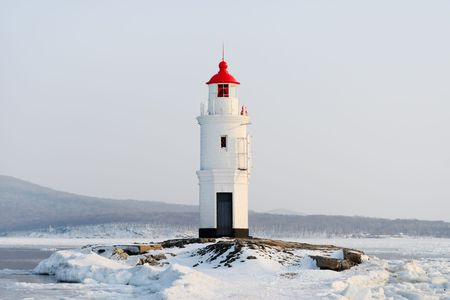Egersheld Lighthouse Point, in Peter the Great bay (Vladivostok, Russia) Stock Photo
