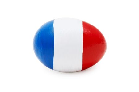close-up of easter egg with abstract french flag on it photo