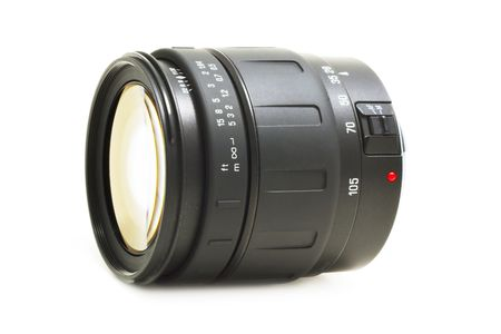 auto focus: high-quality auto focus optic lens for DSLR camera on a white background with pretty shadow