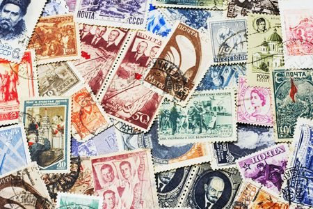shot of the random collection of soviet postal stamps (1920-1980s) photo