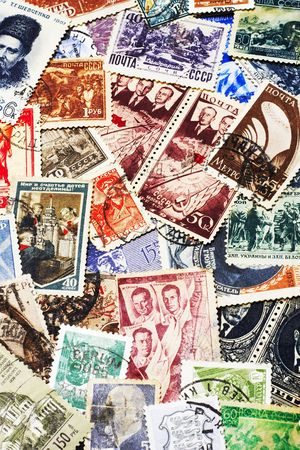 shot of the random collection of soviet postal stamps (1920-1980s)