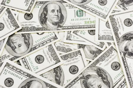 lots of real 100 greenbacks for background Stock Photo