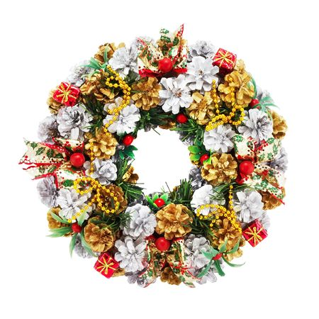holiday wreath on a white background with clipping path for designers