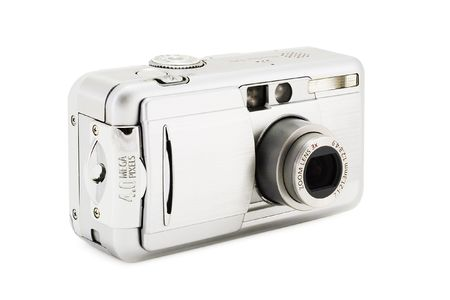 customer records: compact digital photo camera on a white background with clipping path for designers