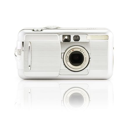 megapixel: compact digital photo camera on a white background with smooth shadow Stock Photo