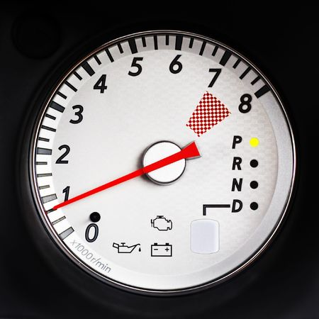 tachometer of sport car with redline on 7000 rpm Stock Photo