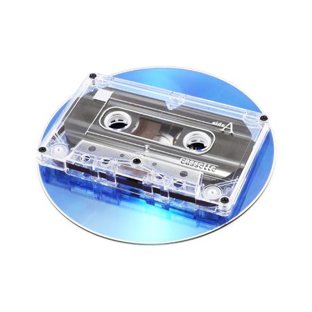 compact disk: analog audio tape cassette and digital compact disk on a white background