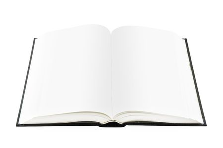 bibliomania: opened book on a white background with empty pages Stock Photo
