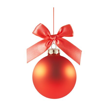 a red matted glass christmas ornament handing from a red bow and ribbon (isolated on a white background) Stock Photo