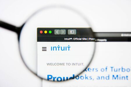 Los Angeles, California, USA - 25 January 2019: Intuit website homepage. Intuit logo visible on display screen. Editorial