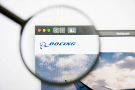 Los Angeles, California, USA - 14 February 2019: Boeing aerospace website homepage. Boeing logo visible on display screen. Editorial