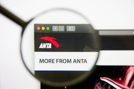 Los Angeles, California, USA - 14 February 2019: Anta Sports Products website homepage. Anta Sports Products logo visible on monitor screen.