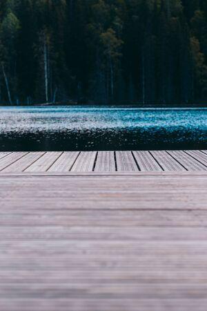 Empty pier on the scenic lake