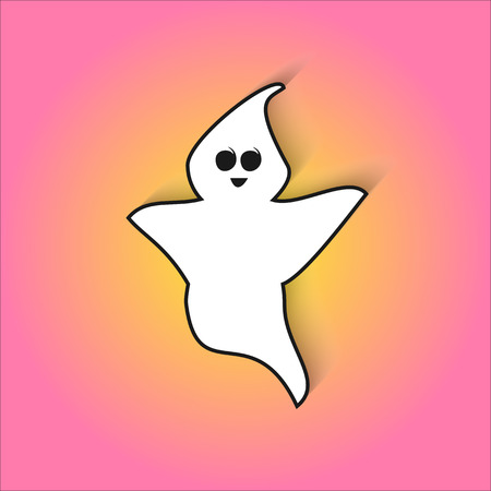 cute ghost: Cute ghost scares in vector flat icon for Halloween