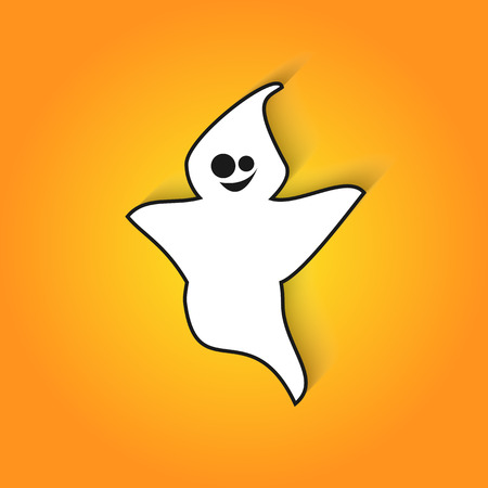 phantom: Smiling ghost scares in vector flat icon for Halloween