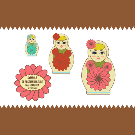 Russian wooden matryoshka nested doll, demonstrating mastery of Russian culture. Set.