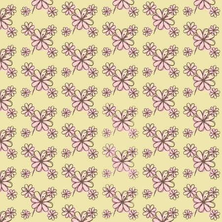 pink flower: Floral pattern on a light background, five pink flower