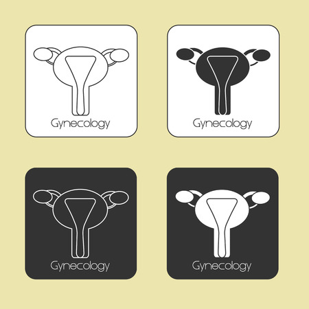 endometrium: Medicine, set of vector icons on the theme Gynecology