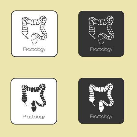 Medicine, set of vector icons on the theme Proctology