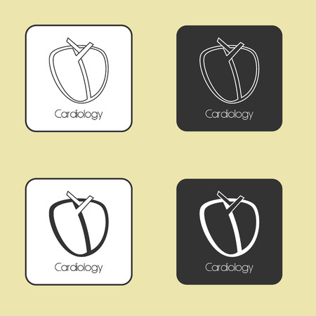 Medicine, set of vector icons on the theme Cardiology Illustration