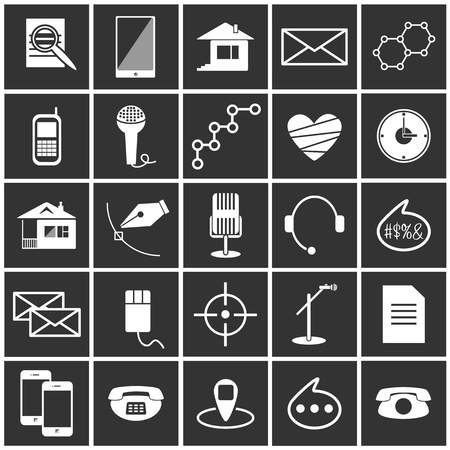 show business: black and white vector icons science show business Internet