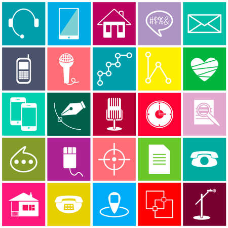 show business: Color vector icons science show business Internet