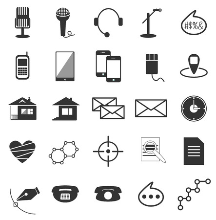 show business: white and black vector icons science show business Internet Illustration