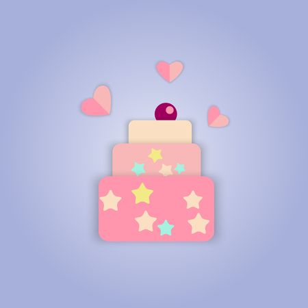 pink cake: Vector picture of pink cake with cherries and hearts
