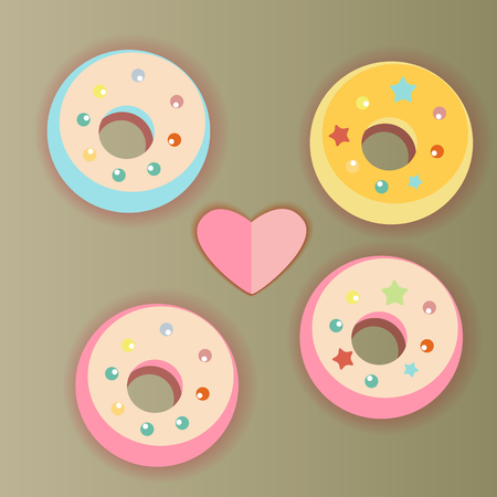 gentleness: Vector picture with sweet donuts with ornaments and heart Illustration