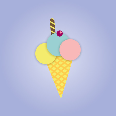 gentleness: Vector picture ice cream in a cone with a cherry and a chocolate wafer straw