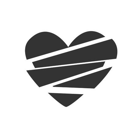 corazon roto: Cartel blanco y negro, corazón símbolo vector Icon roto