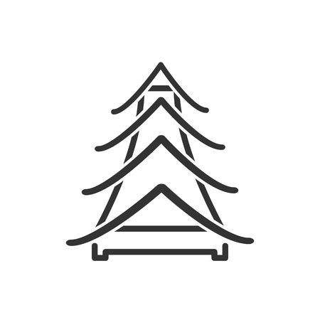 relic: Black and white sign, vector symbol Icon Chinese pagoda