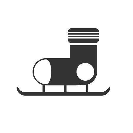 ice skates: Black and white sign, vector symbol Icon ice skates Illustration