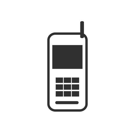 old phone: Black and white sign, vector symbol Icon old mobile phone Illustration