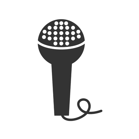 microphone: Black and white sign, vector symbol Icon microphone