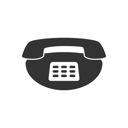 old phone: Black and white sign, vector symbol Icon old phone