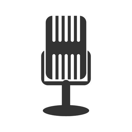 studio microphone: Black and white sign, vector symbol Icon studio microphone