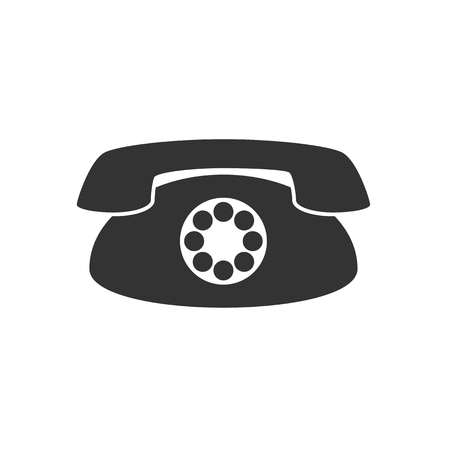 vintage phone: Black and white sign, vector symbol Icon vintage phone