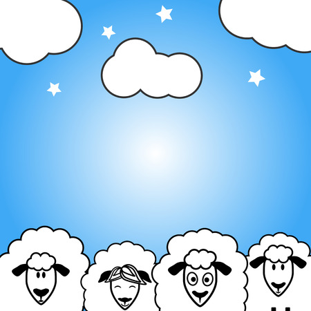 sheeps: Cute vector sheeps postcard for each day and night