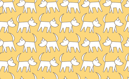 dog pen: Vector seamless pattern dog walking in the row in the Doodle style